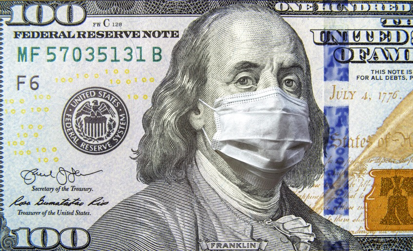 Benjamin Franklin on the 100 dollar bill, wearing a surgical mask.